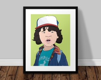 Dustin Stranger Things Illustrated Poster Print | A6 A5 A4 A3