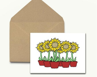 Sunflower Note Cards – Boxed Set of 10 With Envelopes