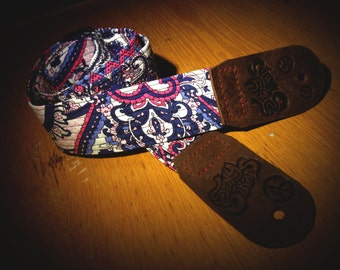 Antique 'n' Sleek Leather Ended Paisley Guitar Strap - Sexy Straps