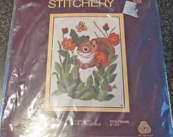 "Sunset Stitchery 532 Squirrel And Orange Flowers Diane Brakefield 5 "" x 7 "" Embroidery"