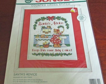 Sunset Dimensions 18342   Counted Cross Stitch Santa's Advise Keep this Room Tidy & Nice Ann Craig Teddy Bear Bathroom Color Accented Chart