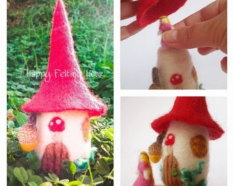 Needle felted Fairy house with fairy and removable roof