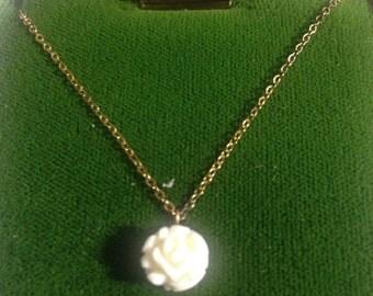 Carved Bone Rose Pendant/ 14k Gold Overlay Chain
