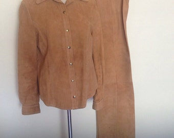 1970's Soft Suede Bell Bottom Pant Suit