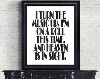 Turn the Music Up, Coldplay Lyrics, Every Teardrop, Instant Download, Digital Print, Coldplay Poster, Song Lyrics, Chris Martin, Wall Art