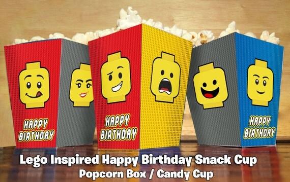 Foldable Lego Inspired Popcorn Box - Lego Popcorn Box Lego Birthday Party Favor Lego Snack Box Lego Treat Cup Lego treat box lego cup