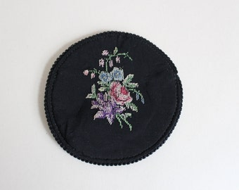 Vintage Petit point case for round compact mirror