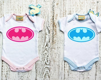 Baby Bodysuit with BATMAN logo for boy and for girl. Funny Baby Grow. Baby girl or boy gift.