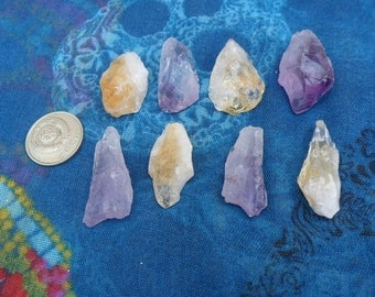 8pc Amethyst and Citrine Crystals