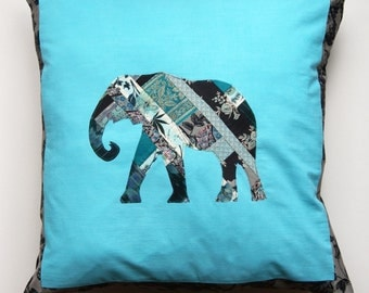 Elephant patchwork applique cushion in turquoise
