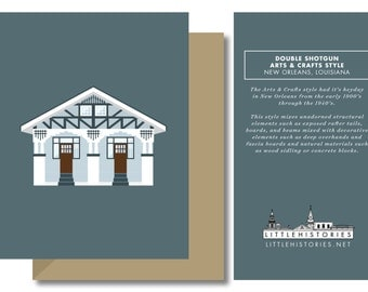 New Orleans Greeting Card, Arts & Crafts Shotgun House Style, Architecture Louisiana