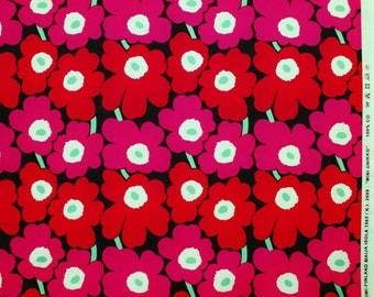 Marimekko fabric, red/pink/black Mini Unikko, 145x45cm by Maija Isola