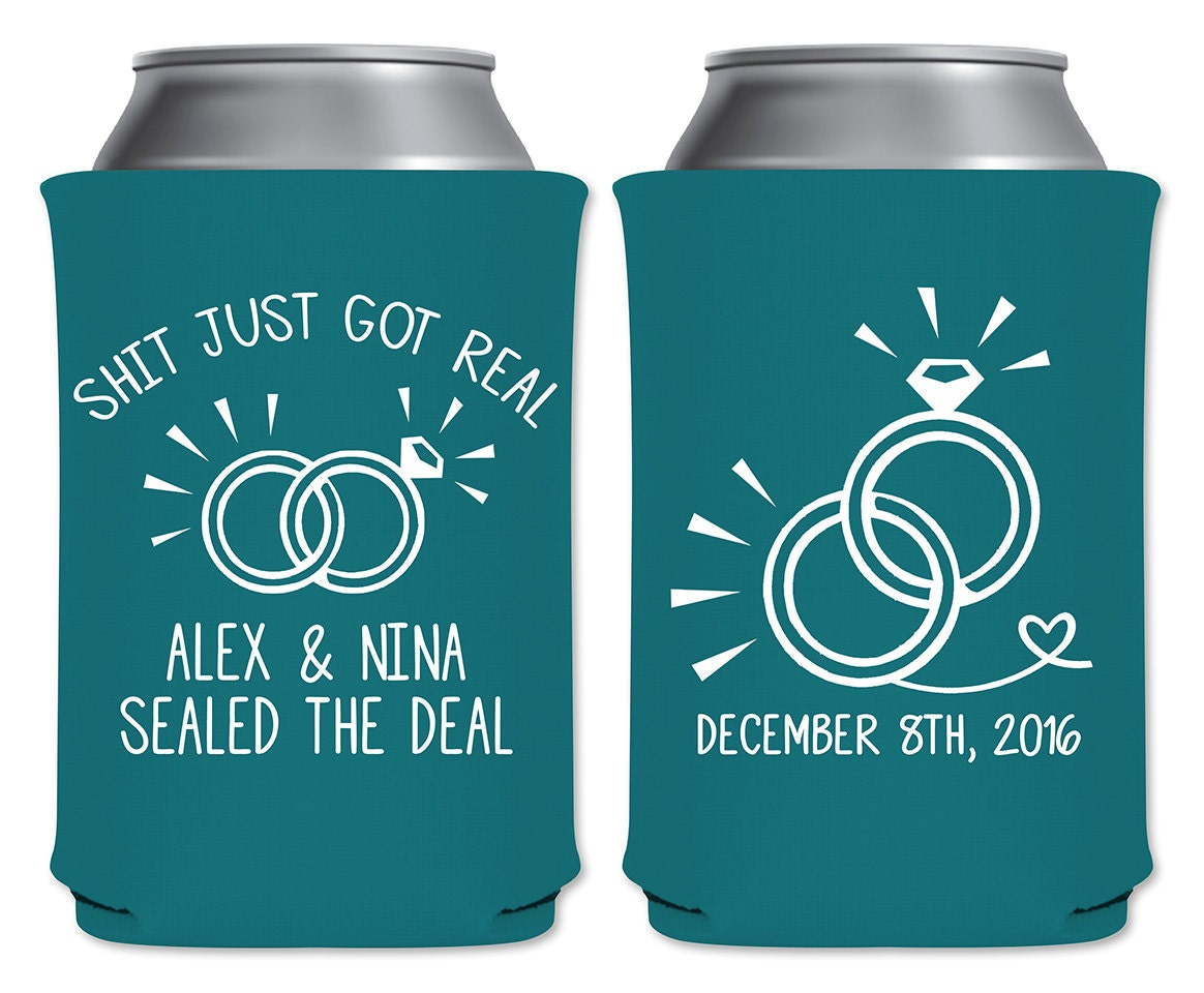 Personalized Funny Wedding Favors Can Coolers Beverage