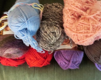 Mixed Lot of 10 Various Skeins of Yarn Multi-Colors Mixed Weights