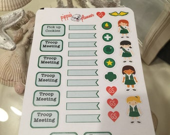 Girl Scout Planner Stickers - Meeting and Cookie Pick up