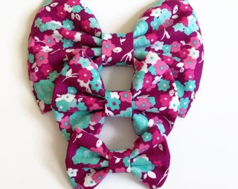 Teal Fuchsia Floral Hair Bow - Fabric Hair Bow - Pink Hair Bow - Floral Hair Clip - Teal Hair Bow - Summer Hair Bow - Infant Hair Bow
