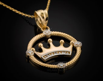 Gold Quinceanera Crown Diamond Pendant Necklace (10k, 14k, yellow, white, rose gold)