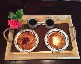 Breakfast Tray,Wooden Tray, Wood Serving Tray, Ottoman Tray, Kitchen Tray, Letter Tray, Pallet board tray