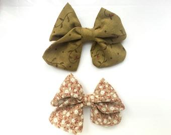 Fall bow, Autumn bow, Floral bows, Baby hair bows, Baby bows, baby headband