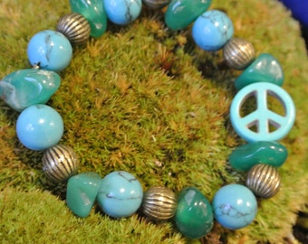 Green Agate & Turquoise Gemstone,Copper/Peace Sign Ceramic Bracelet