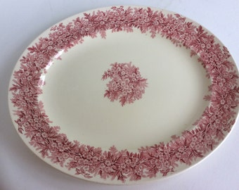 Vintage English redware porcelain platter in red ivory white floral platter in Hawthorne pattern by B and L Burslem, England. Redware