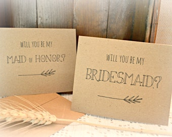 Be my Bridesmaid, Maid of Honor Cards, Kraft Paper Cards, Rustic Wedding