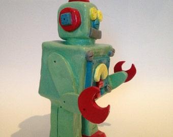 Large Ceramic Retro Robot Figurine