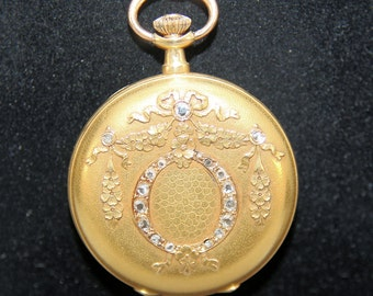 Antique 18K Solid Yellow Gold 17 Rose Cut Diamonds Pocket Watch Case Pendant Locket 22.6 Grams