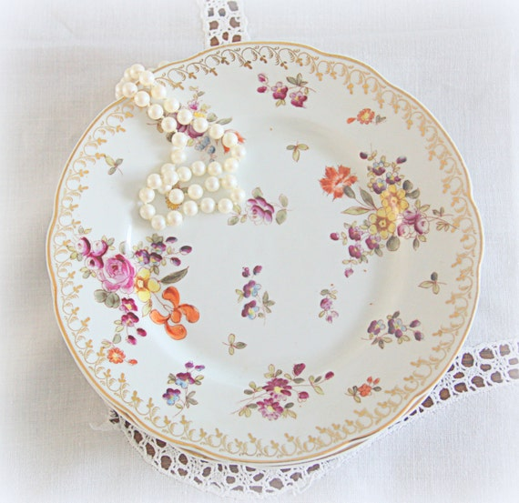 RESERVED FOR JASMINE Set of Two Beautiful Vintage Porcelain Pastry Plates, Colorful Flower Decor, Handpainted, Numbered