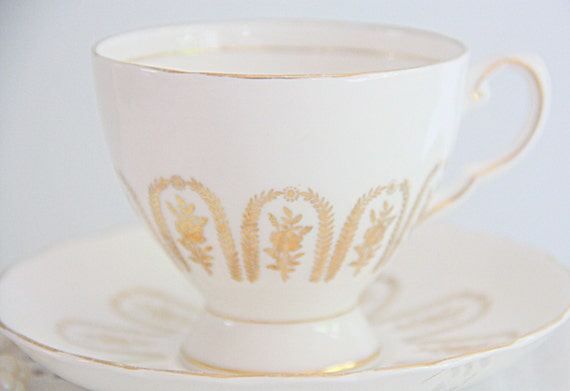 RESERVED FOR TAYLOR Elegant Vintage Royal Tuscan Fine Bone China Cup and Saucer, Gold Decor, England