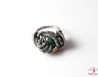 Handmade Ring - Fine Silver & Sterling Silver With Greenfire Agate