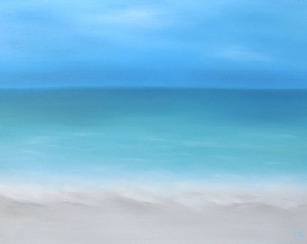 Beach Print, Original Oil Painting, Giclee Print, Beach House Art, Ocean Painting, Landscape Print, Seascape Painting, Blue Green Art