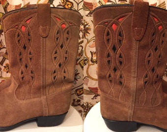 Vintage 1970s Suede Cowboy Boots Womens Leather Boots Decorative Inlays Retro Boho Hippie Festival by Sears