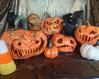 Paper Mache Jack o Lantern Pumpkin Halloween Home Decor Accents