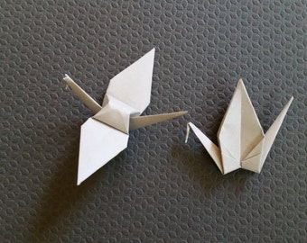 100 Handmade Small Grey Origami Paper Cranes - Great for wedding backdrops, place cards and baby showers