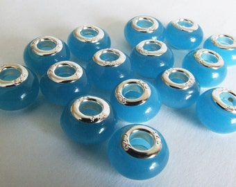 Blue Opalescent Glass Charm Beads