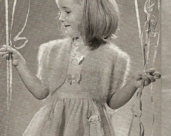 Knitting Pattern Girl's Party Bolero with Puff Sleeves Fuzzy-Wuzzy Angora 4-5 Years PDF Instant Download