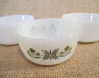 Vintage Fire King Small Condiment Bowls, Green Meadow, Milkglass, Anchor Hocking - Set of 3