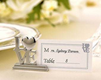 Love Place Card Holder / Photo Holder with Matching Place Cards (Set of 12)