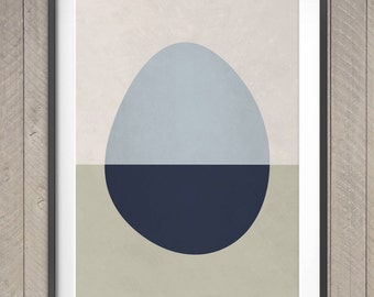 Egg Geometric Mid Century Modern Wall Art, Abstract Pattern Poster, Scandinavian Design Print, Minimalist Home Decor