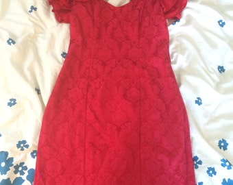 Red Brocade Print dress