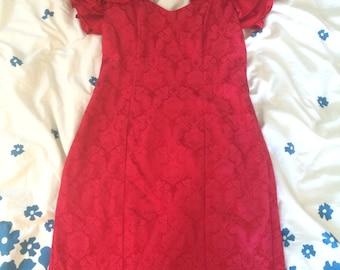 Red Brocade Print dress