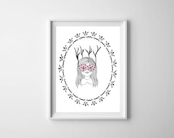 Woodland Girl Wall Art PRINTABLE - Whimsical  Nursery Illustration - Modern Nursery decor - Girls Room Decor - Scandinavian Nursery