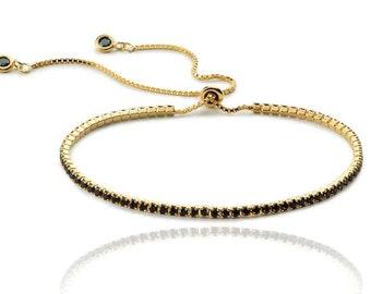 chain adjustable BRACELET-Gold plated silver bracelet-black zirconia bracelet-black chain bracelet-dainty bracelet