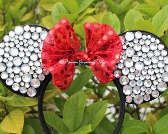 Minnie Mouse ears . Minnie ears . Minnie Mouse red bow ears . Rhinestones Minnie ears . Red bow