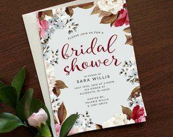 Botanical Bridal Shower Invitation | Botanical Wedding Shower Invitation, Floral Bridal Shower Invite, Vintage Floral Shower Invitation