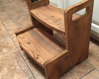 Kids wooden 2-step stool with Minwax stain of your choice.