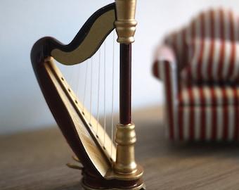Sale......Dollhouse miniature harp 1 12 scale lever celtic pedal harp