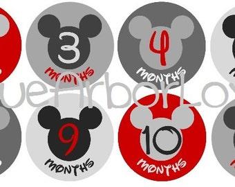 Baby Boy Mickey Month 2 Month Onesie Stickers, Baby Shower Gift