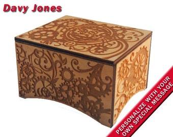 """Windup Steampunk Music Box, """"Davy Jones"""", Laser Engraved Birch Wood"""